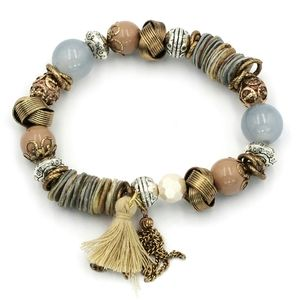 Blue bead line tassel bracelet